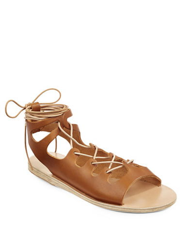 Ancient Greek Sandals Antigone Leather Gladiator Sandals-COGNAC-EUR 37/US 7