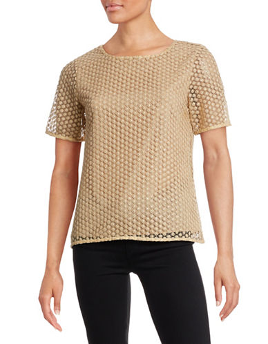 Diane Von Furstenberg Short Sleeve Eyelet Weave Top-GOLD-X-Small
