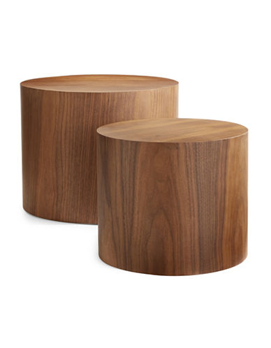 Distinctly Home Two-Piece Nesting Accent Tables-BROWN-One Size