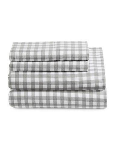 Home Studio Four-Piece Check Flannel Sheet Set-GREY/WHITE-Twin