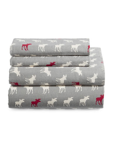 Home Studio Four-Piece Moose Print Flannel Sheet Set-MULTI-Double