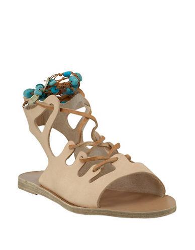 Ancient Greek Sandals Antigone Stones Leather Sandals-NATURAL-EUR 37/US 7