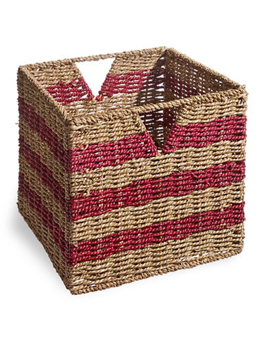 Distinctly Home Foldable Seagrass Crate-RED-One Size