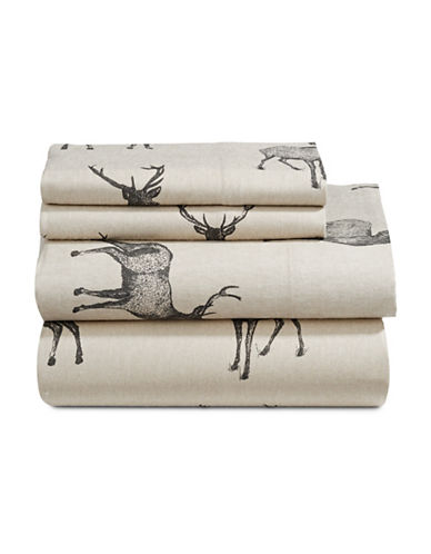 Distinctly Home Four-Piece Rustic Woodland Stag Flannel Sheet Set-TAUPE-Double