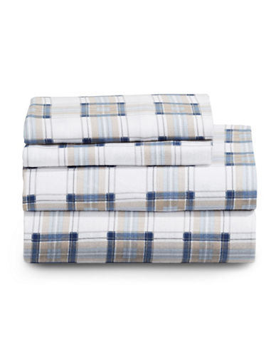 Distinctly Home Highland Plaid Four-Piece Flannel Sheet Set-BLUE-Double