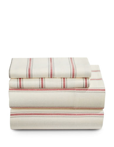 Distinctly Home Cabin Stripe Flannel Four-Piece Sheet Set-RED-Twin