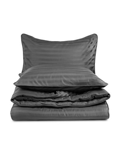 Home Studio Damask Stripe 500 Thread-Count Three-Piece Duvet Cover Set-CHARCOAL-King