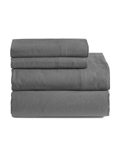 Distinctly Home Three-Piece Cotton Flannel Sheet Set-GREY-Double
