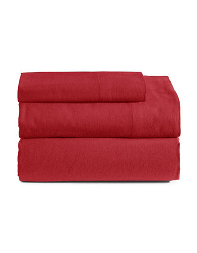 Distinctly Home Three-Piece Cotton Flannel Sheet Set-RED-King