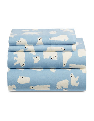 Distinctly Home Four-Piece Printed Flannel Sheet Set-BLUE-Double