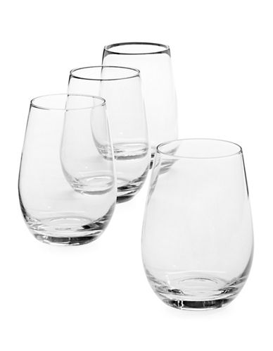 Glucksteinhome Fête Set of 4 Stemless Wine Glasses-CLEAR-One Size