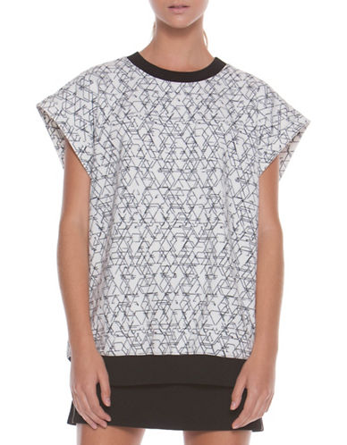 Co + Co Coco Scuba Sleeveless Oversized Sweatshirt-WHITE MULTI-X-Small/Small