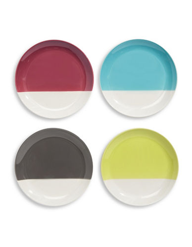 Distinctly Home Four-Piece Hand-Dipped Appetizer Plate Set-MULTI-One Size