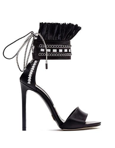 Daniele Michetti Eshe Fringed Leather Sandals-BLACK-EUR 37/US 7