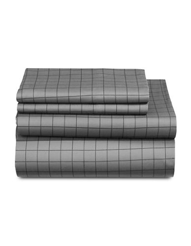 Distinctly Home Windowpane 520-Thread Count Four-Piece Sheet Set-CHARCOAL-Queen