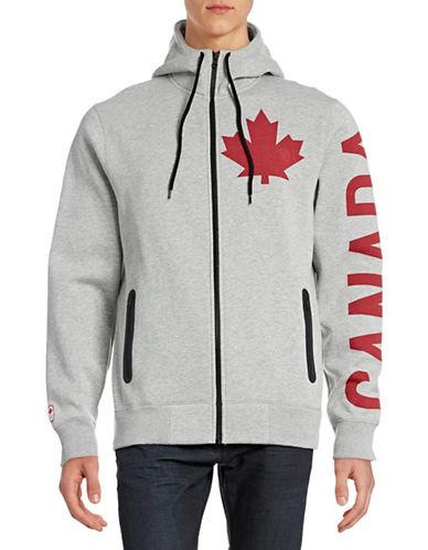 Canadian Olympic Team Collection Mens Canada Sleeve Full-Zip Hoodie-GREY-Large 88334069_GREY_Large