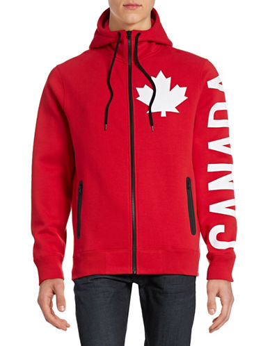 Canadian Olympic Team Collection Mens Canada Sleeve Full-Zip Hoodie-RED-Large 88334074_RED_Large