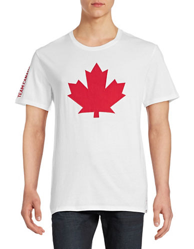Canadian Olympic Team Collection Mens Leaf Applique T-Shirt-WHITE-Medium 88334078_WHITE_Medium