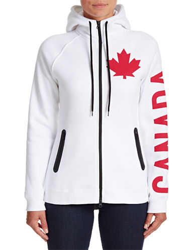 Canadian Olympic Team Collection Womens Canada Sleeve Full-Zip Hoodie-WHITE-Small 88334083_WHITE_Small