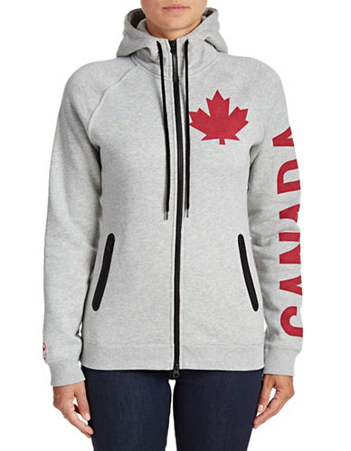Canadian Olympic Team Collection Womens Canada Sleeve Full-Zip Hoodie-GREY-Medium 88334089_GREY_Medium
