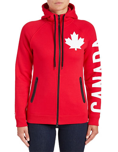 Canadian Olympic Team Collection Womens Canada Sleeve Full-Zip Hoodie-RED-X-Large 88334096_RED_X-Large
