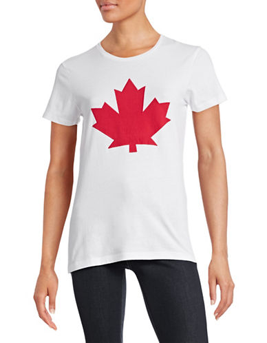 Canadian Olympic Team Collection Womens Maple Leaf Applique T-Shirt-WHITE-X-Small 88334097_WHITE_X-Small