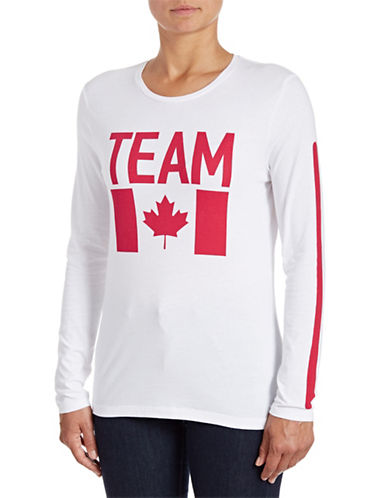 Canadian Olympic Team Collection Womens Long Sleeve Team Flag T-Shirt-WHITE-X-Small 88334102_WHITE_X-Small
