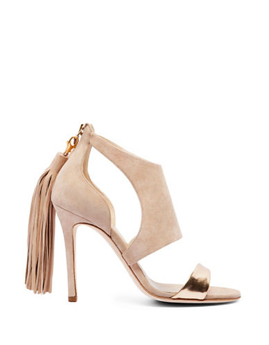 Alexander White Cleo Leather and Suede Tasselled Heels-BEIGE-EUR 39/US 9