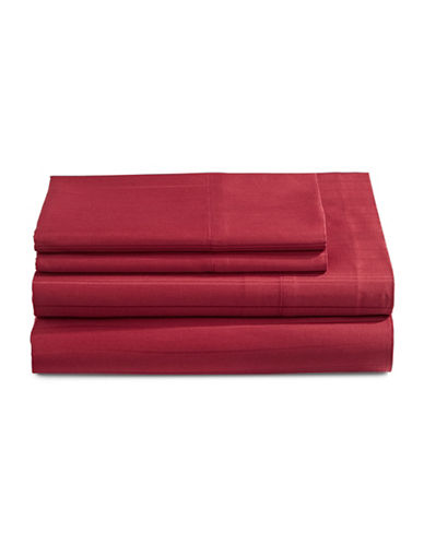 Distinctly Home Four-Piece 520 Thread-Count Stripe Sheet Set-RUBY WINE-Twin
