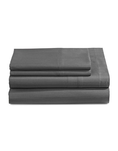 Distinctly Home Four-Piece 520 Thread-Count Stripe Sheet Set-SMOKED PEARL-Double