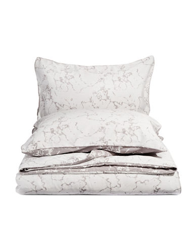 Glucksteinhome Bianca Jacquard Three-Piece Duvet Cover Set-GREY-Queen