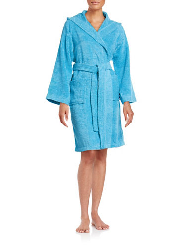 Dh Vibe Hooded Robe-CYAN BLUE-Small/Medium