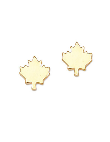 Canadian Olympic Team Collection Goldplated Maple Leaf Stud Earrings-GOLD-One Size