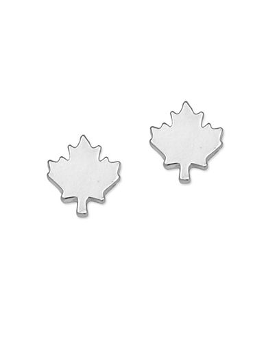 Canadian Olympic Team Collection Silverplated Maple Leaf Stud Earrings-SILVER-One Size