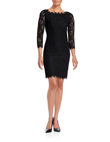 Diane Von Furstenberg Zarita Corded Lace Dress-BLACK-4