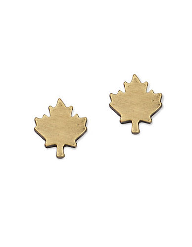 Canadian Olympic Team Collection Brassplated Maple Leaf Stud Earrings-BRASS-One Size