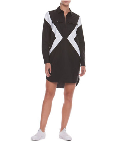 Co + Co Cindy Tunic Shirt Dress-BLACK/WHITE-0