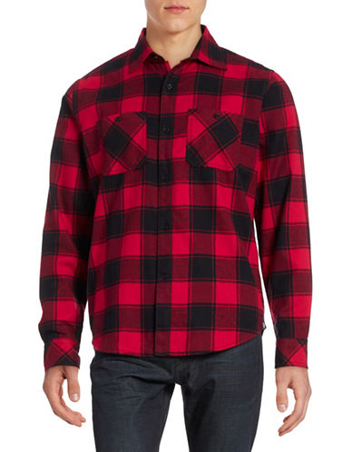 Canadian Olympic Team Collection Mens Flannel Shirt-RED-X-Large