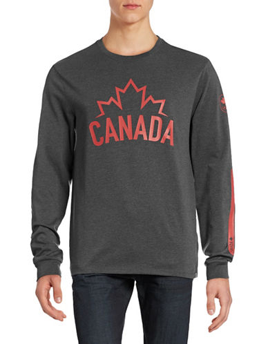 Canadian Olympic Team Collection Mens Long Sleeve Canada Wordmark T-Shirt-CHARCOAL-XX-Large 88393834_CHARCOAL_XX-Large