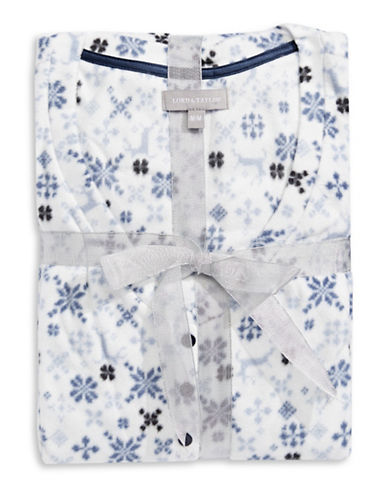 Lord & Taylor Dotted Fleece V-Neck Chemise-BLUE-Medium