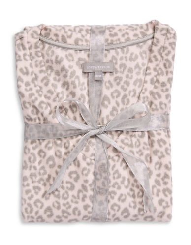 Lord & Taylor Dotted Fleece V-Neck Chemise-PINK-Small