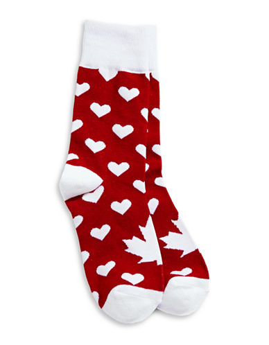Canadian Olympic Team Collection Womens Heart Socks-RED-One Size
