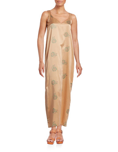 Horses Atelier Silk-Blend Floral Slip Dress-GOLD PEONY-0