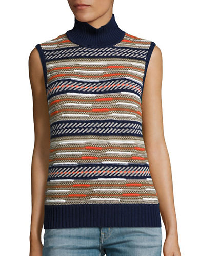 Diane Von Furstenberg Knitted Turtle Neck Tank Top-BLUE-Medium 88550546_BLUE_Medium