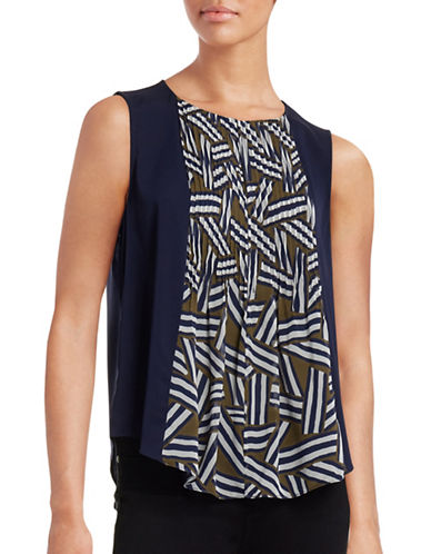 Diane Von Furstenberg Rachael Printed Pintuck Silk Blouse-BLUE-Medium plus size,  plus size fashion plus size appare