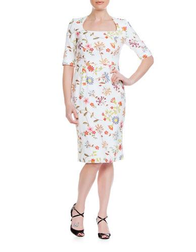 Sonia Arora Designs Jacquard Three-Quarter Sleeve Dress-IVORY-10