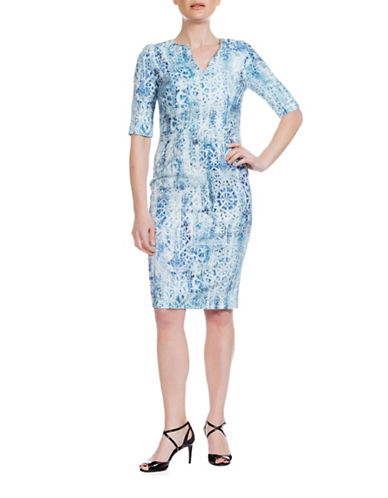 Sonia Arora Designs Jacquard Three-Quarter Sleeve Dress-BLUE-12