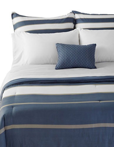 Marseilles Ashton Striped Eight-Piece Bed Set-BLUE-Double