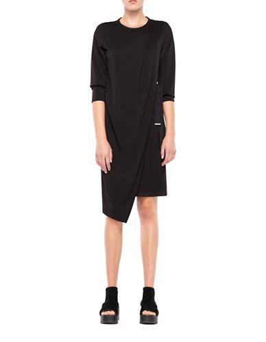 Co + Co Divina Draped Shift Dress-BLACK-0
