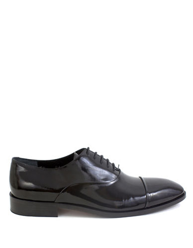 Jay+Dee Man Patent Leather Cap-Toe Oxfords-BLACK-EU 43/US 10